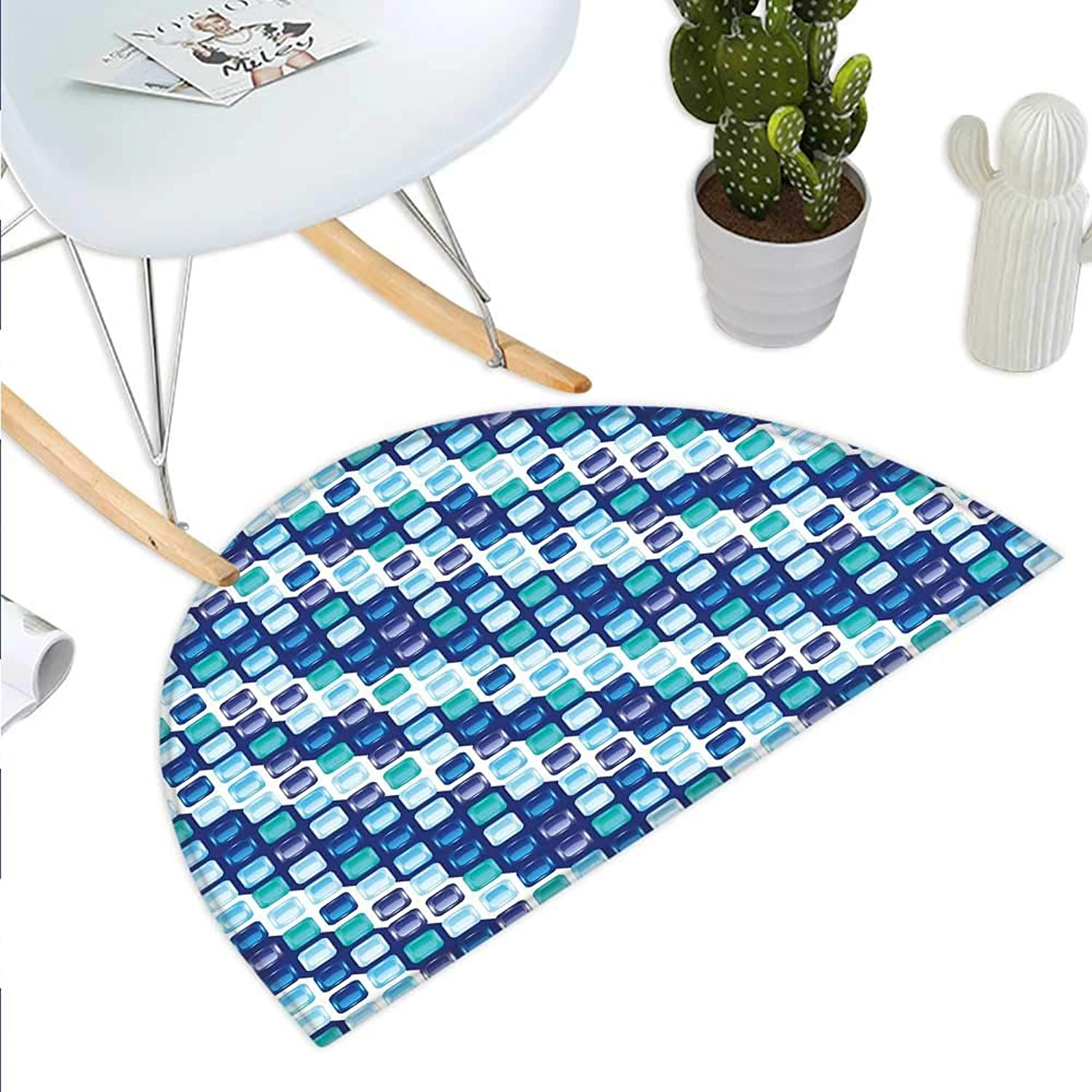 bluee Semicircle Doormat Retro Style Vintage Modern Design with Mosaics and Geometrical Squares Halfmoon doormats H 39.3  xD 59  Pale bluee White Dark bluee
