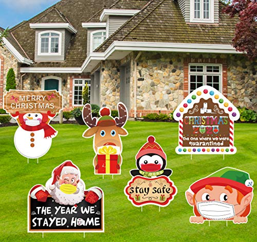 luck sea 6PCS Christmas Quarantine Yard Stakes Signs Decorations - Xmas Outdoor Lawn Winter Wonderland Holiday Party Decor