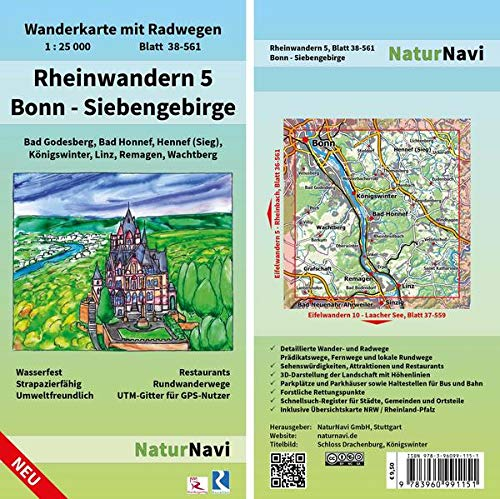 Rheinwandern 5 - Bonn - Siebengebirge: Wanderkarte mit Radwegen, Blatt 38-561, 1 : 25 000, Bad Godesberg, Bad Honnef, Hennef (Sieg), Königswinter, ... (NaturNavi Wanderkarte mit Radwegen 1:25 000)