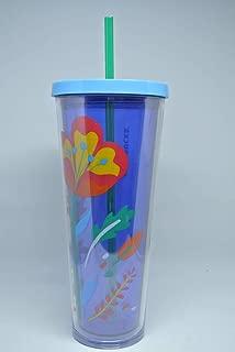 Starbucks 2018 Floral Clear Blue Venti Cold Cup Tumbler 24 fl oz