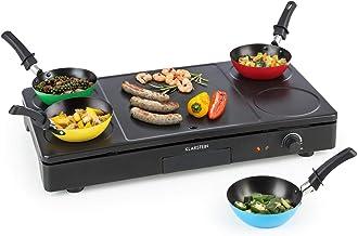 Klarstein Partylette Barbacoa de mesa - Diversión 3 en 1, Combinación de barbacoa de mesa, wok y crepera, Potencia de 1000 W, Regulable, Superficie grill antiadherente, Perilla de potencia, Negro