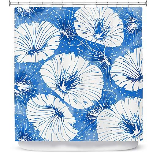 DiaNoche Ontwerpen Badkamer Douchegordijnen door Zara Martina - Blauwe Witte Bloemen