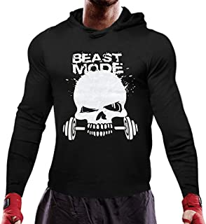 Mens Skull Print Stringer Bodybuilding Gym Tops Workout Fitness T Shirts with Hoodies