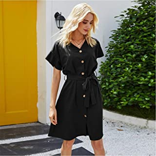 Summer Women'S Casual Retro Dress Short Sleeve V-Neck Button Belt Knee-Length Evening Dress