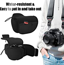 Camera Pouch - DSLR Case Camera Sleeve - Neoprene SLR Protector Water-Resistant Camera Wrap with Zipper Pocket for Nikon D3400, Canon T6i and Others - Black