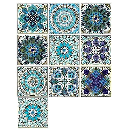 LERANXIN 10 Piezas de Adhesivo Para Azulejos, Azul Arte Mural Adhesivos, Adhesivos azulejos baño Fabricados en PVC Profesional, Aptos para Cocina, Baño, Pavimentos