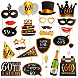 Dsaren 60 Anni Compleanno Photo Booth Props 24 PCS DIY Foto Props Oro e Nero Decorazioni di Compleanno Party Accessories