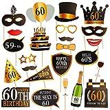 Dsaren 60e Anniversaire Accessoire Photobooth Funny Noir et Or Photo Booth Props Décorations de Fête D'anniversaire, 24 Pcs