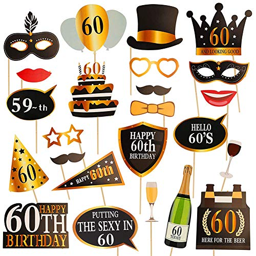 Dsaren 60th Geburtstag Fotorequisiten Lustig DIY Kit Photo Booth Props Geburtstagsfeier Dekoration, 24 PCS