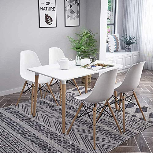 Dining Table and Chairs Set of 4  Solid Wooden Table with Metal Legs and 4 White Chairs  Dining Room Furniture Set for Home  Office  Kitchen