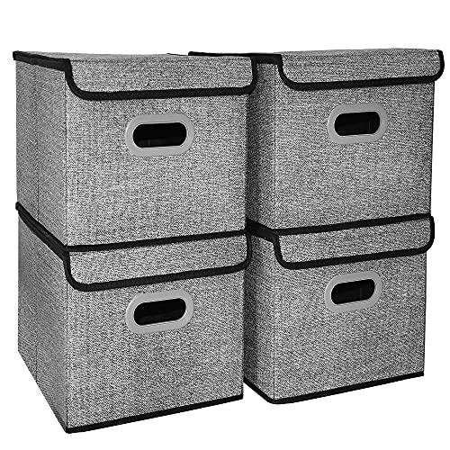 Aprilo® Set di 4 scatole portaoggetti con coperchio, pieghevoli, con maniglia, per scaffali, scatole di stoffa, cestini, organizer per giocattoli, 40 x 30 x 25 cm