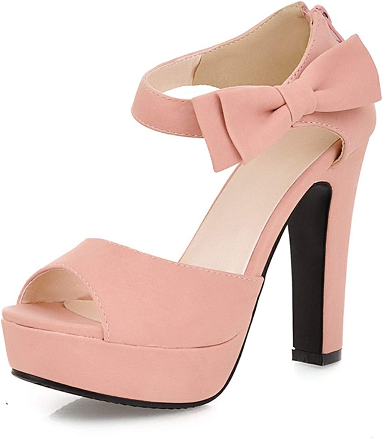 Fairly New Peep Toe Ankle Strap orange Sweet Thick High Heel Platform Lady shoes,Pink,3