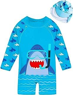 uideazone Girls Long Sleeve One Piece Swimsuit Zipper UPF 50+ Rashguard Swimwear 1-6Y