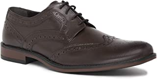 NOBLE CURVE Brown Leather Derby Brogues Shoes