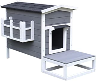 PawHut Wooden Large Deluxe Elevated Indoor Outdoor Cat House with Porch and Balcony - Dark Grey/White