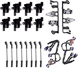 AD Auto Parts Ignition Coil Super Package (2 Brackets, 2 Harness, 8 Coils, 8 Spark Plug Wires) For LS2, LS4, LS7 Model Round Coil 2nd Design