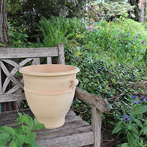 Kreta Keramik | Terracotta Pflanzgefäß mit Henkel | handgefertigt und frostfest | Blumenkübel in verschiedenen Größen Garten Deko, 35-80 cm, Rosa (35 cm)