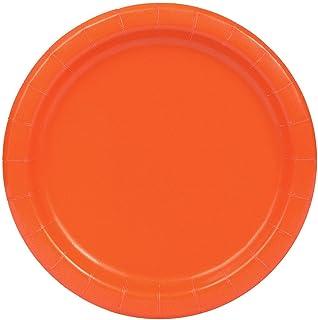 Unique Round Paper Plate 16 Pieces, 9 Inch Size, Pumpkin Orange, Disposable plate, 32252, 16ct