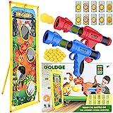 GOLDGE 2pz Pistolas de Bolas para Niños, Pistola Juguete con 24 Bolas de Espuma y 10pz Lata de Tiro Juego de Tiro al Aire Libre y Blanco de Tiro de Pie Pistola Blaster para Niños Regalos de Cumpleaños