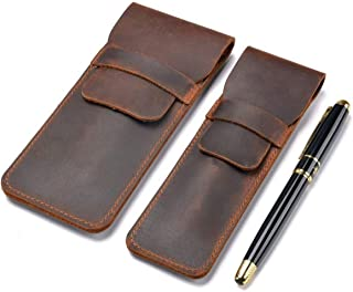 Genuine Leather Pen Case Holder Handmade Fountain Multi Pens Pouch Crazy Horse Leather Pen Protective Sleeve Cover 2 Pack...
