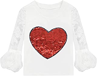 VIPbuy Kid Girls' Reversible Sequin T-Shirt Lace Hollow Out Long Sleeve Tee Top Heart Pattern