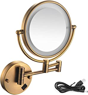 Makeup Mirror 8 Inch Wall Mounted Makeup Mirror Lighted, 1X/5X Magnifying Two Sided 360° Swivel Extendable Vanity Mirror On/Off Button, for Bathroom Chrome Finished,Antiquecopper,5X