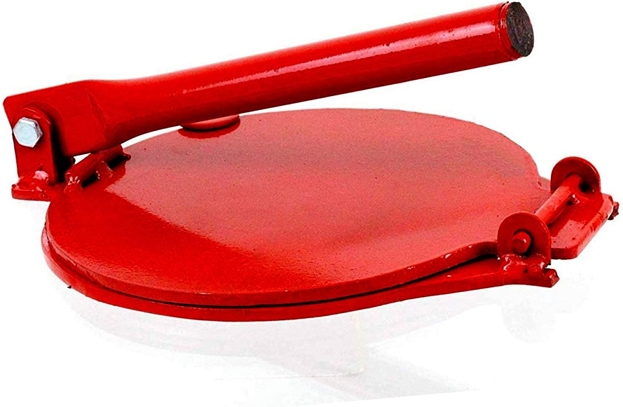 Made In Mexico Red Manual Flower Corn All Metal Tortilla Maker Press 7 5 Round Redondo