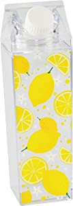 Home-X Lemon Design Milk Carton Water Bottle with Twist-Off Top, Reusable Acrylic Water Bottle for Sports, Hiking, and Travel, 16 Ounces, 8