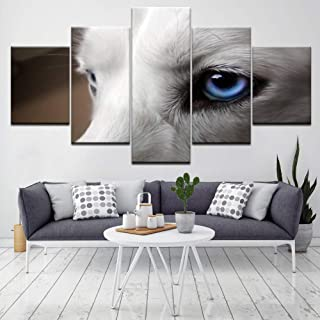 YJHCZC Frameless 5 Paintings Blue Eyes of Husky Dogs 5 Piece Hd Wallpapers Art Canvas Print Modern Poster Modular Art Painting for Living Room Home Decor