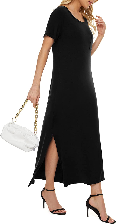 LILBETTER Women's Short Sleeve Split Maxi Dress Casual Plain Long Dresses