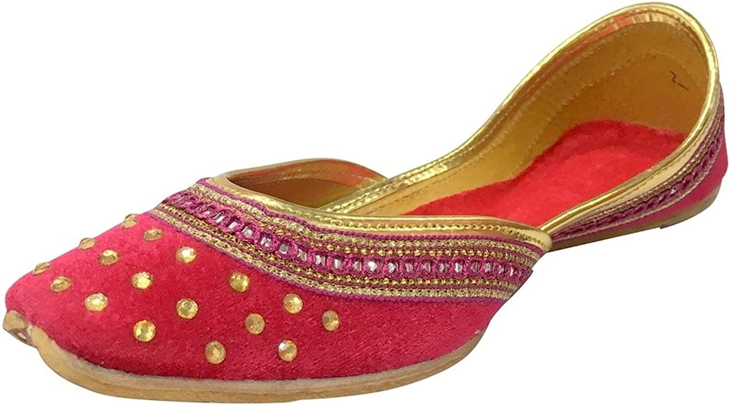 Step n Style Womens Magenta color Khussa shoes Juttis Flat Flipflop Hipi Indian Juti
