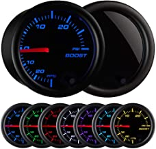 Turbo Boost/Vacuum Gauge Kit 30 PSI Tinted 7 Color - Includes Mechanical Hose & T-Fitting - Black Dial - Smoked Lens - For Car & Truck - 55mm