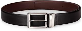Teakwood Men Real Genuine Leather Black And Brown Reversible Formal Casual Dress Belt