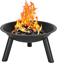 KDJSTORE 22 Inch Heavy-Duty Round Wood Burning Patio & Backyard Fire Pit Bowl for Outside