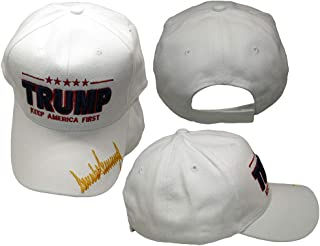 Trump Keep America First Signature Signed White 100% Cotton Embroidered Hat Cap