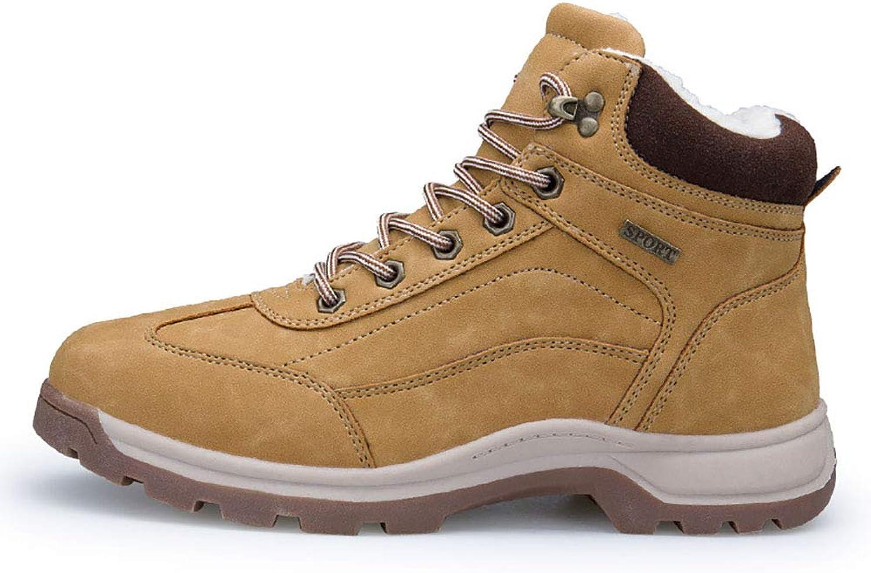 DLBJ Men's Snow Boots High to Help Warm Plus Velvet Cotton shoes Outdoor Non-Slip Hiking shoes