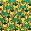 日本紐釦貿易毘沙門亀甲 緑×橙 NBK 生地 布 グリーン×オレンジ コスプレ 巾約112cm×1m切売カット IBK99078-5A-1M約巾112cm×1m切売カッ