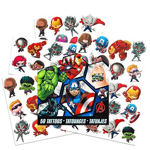 Marvel AVENGERS Temporary Tattoos - 50 Tattoos - Iron Man, Thor, Hulk,...