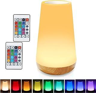 Taipow Veilleuse LED, Lampe de Chevet Multicolore à 360°, Lampe Nuit Rechargeable avec Toucher Luminosité Ajustable Téléco...
