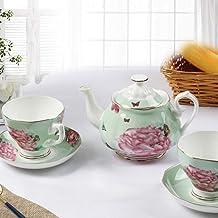 NAIHEQIAO Kaffe te set kreativt ben Kina europeiskt tryck kaffebryggare kopp och tefat, 5 delar, E