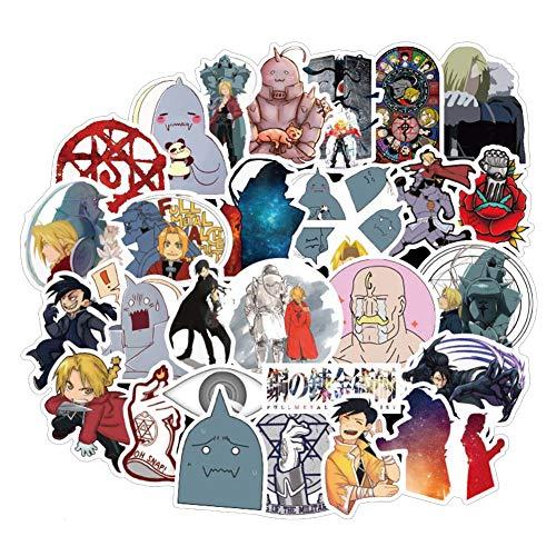 ALTcompluser 50 stk Anime Fullmetal Alchemist Stickers Wasserdicht Vinyl Aufkleber für Laptop, Macbook, Gepäck, Skateboard