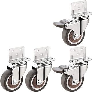 4 stuks meubelwielen in L-vorm met dubbele vergrendeling, wielen met laag profiel, 360 graden draaibaar, voor meubels, bol...