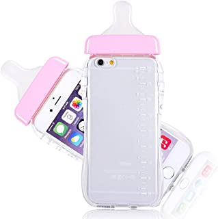Qingsun Woman Milk Baby Bottle Cute 3D TPU Soft Baby Bottle Clear Case Lanyard Case Cover for Apple iPhone 6/6s Plus 5.5 Inch(Pink)