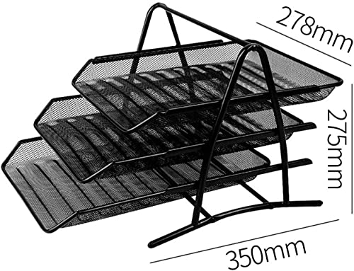 QFFL zhuomianshujia Ordner-Aufbewahrungsbox PS-Material DREI Etagen Abnehmbare Halterung Aktenleiste Büroregal (3 Farben, 4 Ausführungen) Bücherregale (Farbe   Metal)