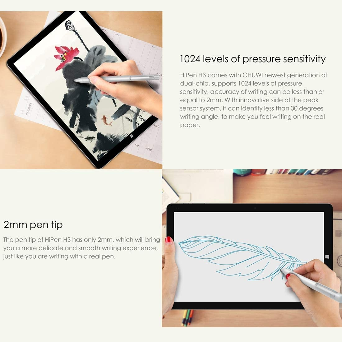 Silver /& Hi9 Plus WMC9562B MOBILL Touch Screen Stylus Pen 1024 Levels of Pressure Sensitivity Dual-chip Metal Body Active Stylus Pen with Auto Sleep Function WMC0035 for CHUWI Hi13 Tablet PC