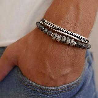 Men`s Bracelet Set - Set of 2 Bracelets For Men - Men`s Beaded Bracelet - Men`s Silver Bracelet - Men`s Jewelry - Jewelry For Men - Bracelets For Men - Guys Bracelet - Guys Jewelry