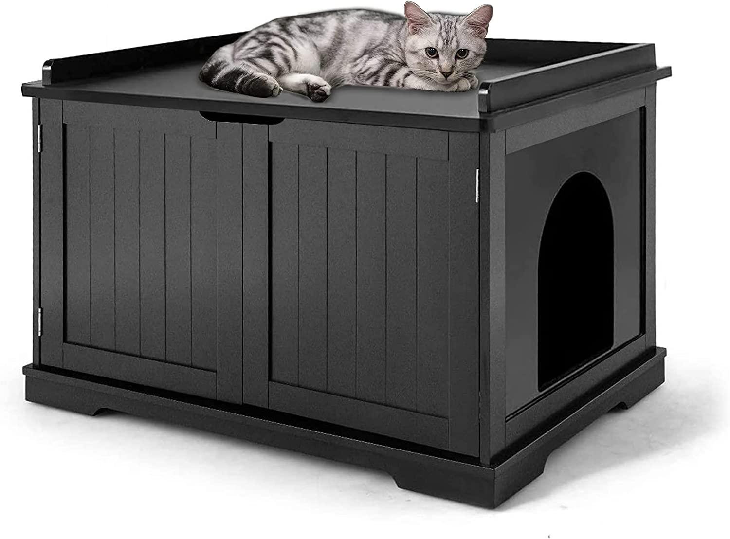 Wooden Cat Litter Box Enclosure, X-Large Cat Washroom Storage Bench with Top Apron and Removable Partition, Modern Litter Box Furniture Fits for Most Litter Box