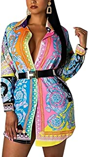 Shirts Dresses for Women Button Down - Floral Print Long Sleeve Blouse Tops Mini Dress