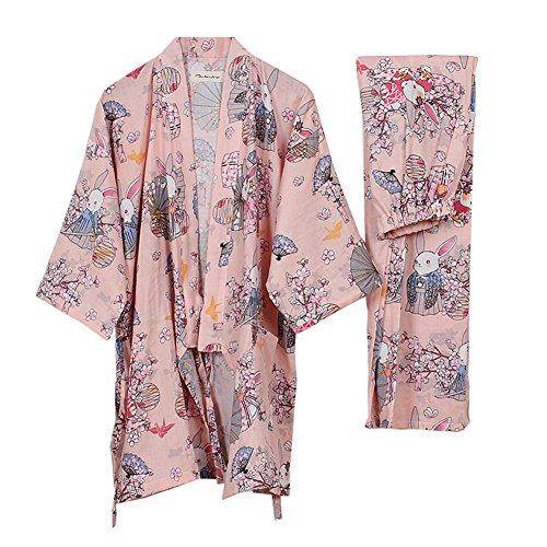 Traje de Pijama de Albornoz Yukata para Mujer Kimono Robe [Rosa rezo de Conejos]
