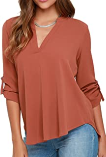 e019cf78db3 OMZIN Women s Chiffon Blouses Solid Loose Shirt Casual Pullover Tops